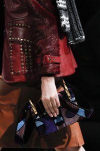 Prada Violet Multicolor Abstract Face Flap Bag - Fall 2017