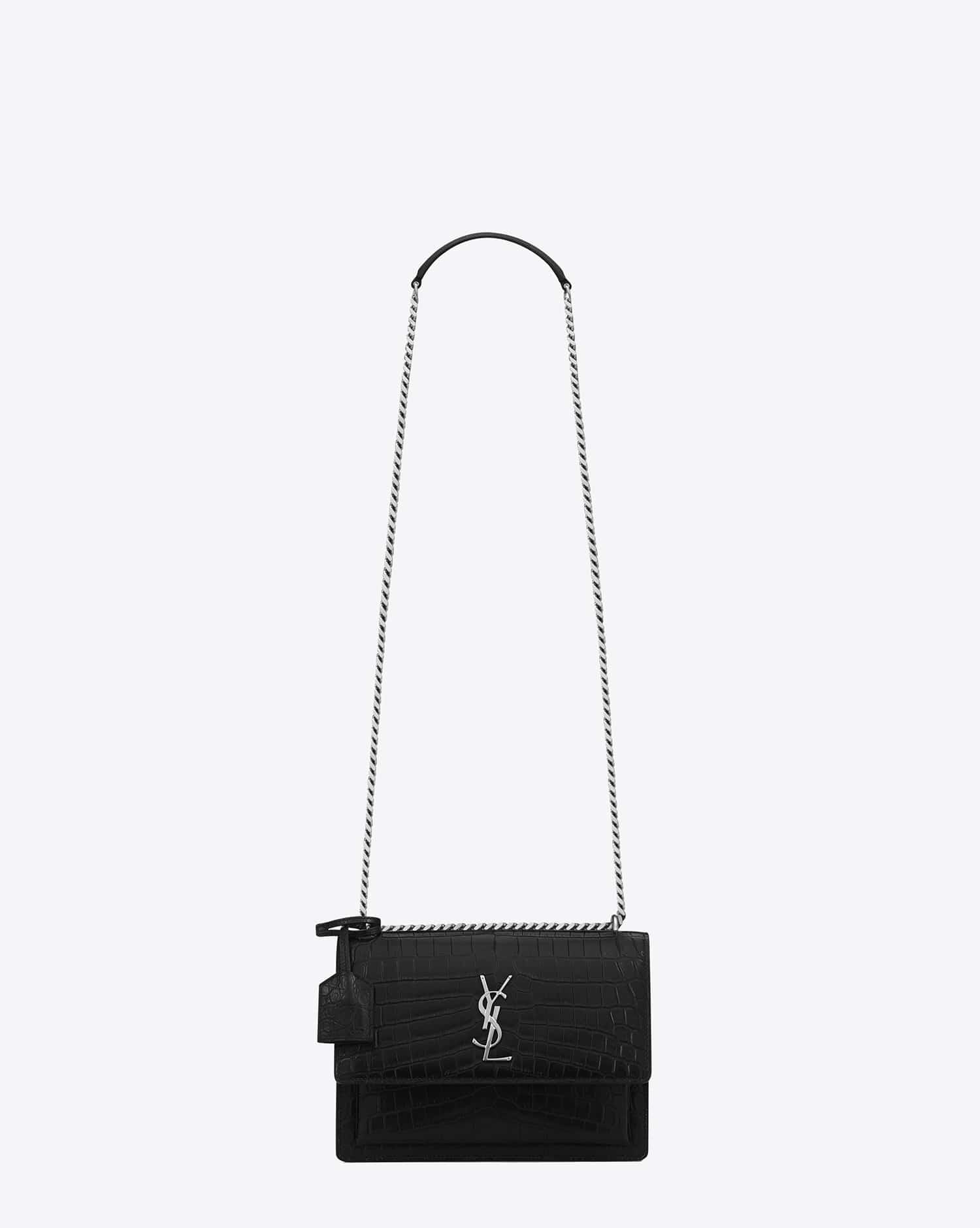 be2e59da8fe1 Saint Laurent Black Crocodile Embossed Medium Sunset Monogram Bag