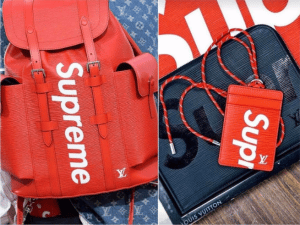 Supreme x Louis Vuitton Red Epi Backpack and Black Epi Card Holder and Pouch Bag