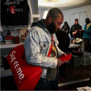Supreme x Louis Vuitton Red Epi Keepall Bag 4