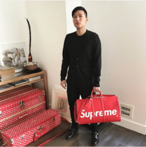 Supreme x Louis Vuitton Red Keepall Bag and Red:White Monogram Trunks