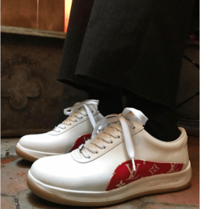 Supreme x Louis Vuitton White and Red Monogram Sneakers