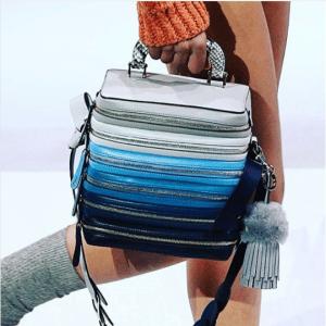 Anya Hindmarch Blue Six-Zip Stack Bag - Fall 2017