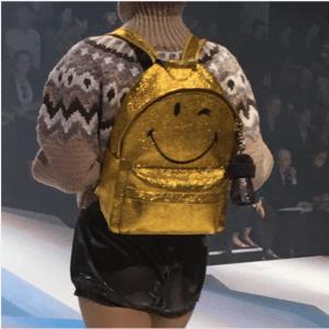 Anya Hindmarch Gold Smiley Backpack Bag - Fall 2017