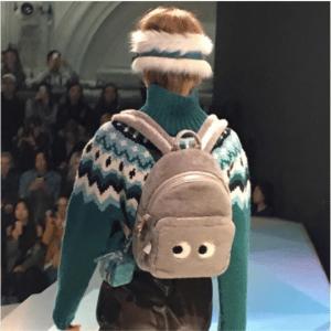 Anya Hindmarch Gray Shearling Eyes Backpack Bag - Fall 2017