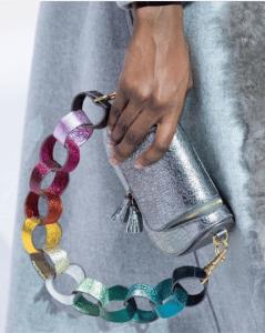 Anya Hindmarch Silver Metallic Paperchain Mini Vere Satchel Bag 2 - Fall 2017