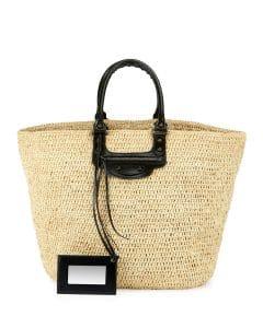 Balenciaga Beige Leather:Raffia Large Panier Tote Bag