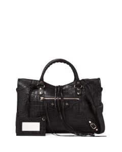 Balenciaga Black Crocodile Embossed Classic City Bag