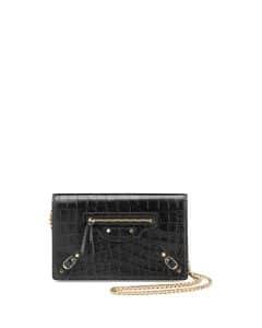 Balenciaga Black Crocodile Embossed Wallet on Chain Bag
