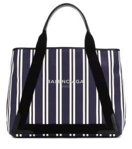 Balenciaga Bleu/Black Navy Striped Medium Cabas Tote Bag