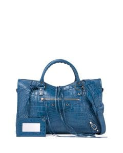 Balenciaga Blue Crocodile Embossed Classic City Bag