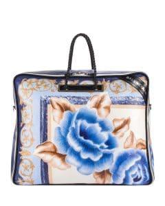 Balenciaga Blue/Black Floral Print Medium Blanket Square Tote Bag