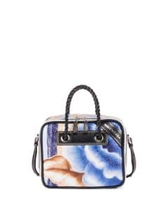 Balenciaga Blue/Black Floral Print Small Blanket Square Tote Bag