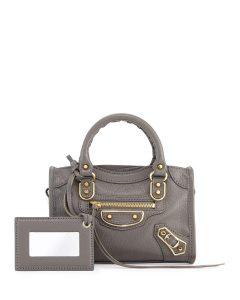 Balenciaga Dark Gray Metallic Edge Nano City Bag