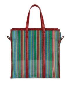 Balenciaga Green/Red Mesh Bazar Shopper S Tote Bag