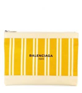 Balenciaga Jaune Miel/Natural Navy Striped Canvas Clutch Bag