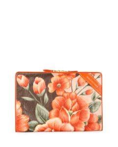 Balenciaga Orange Floral Print Blanket Pouch Bag