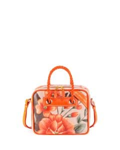 Balenciaga Orange Floral Print Small Blanket Square Tote Bag
