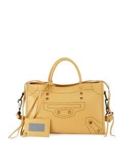 Balenciaga Yellow Blackout City Small Bag
