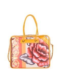 Balenciaga Yellow Floral Print Small Blanket Square Tote Bag