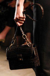 Bottega Veneta Brown Crocodile Flap Bag - Fall 2017