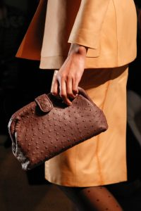 Bottega Veneta Brown Ostrich Lauren Clutch Bag - Fall 2017