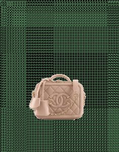 Chanel Beige CC Filigree Vanity Case Mini Bag