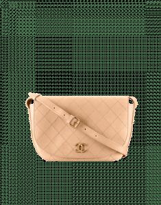 Chanel Beige Calfskin Medium Messenger Bag