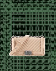 Chanel Beige Chevron Braided Old Medium Boy Chanel Flap Bag