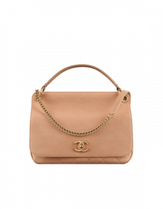 Chanel Beige Grained Calfskin Large Top Handle Flap Bag