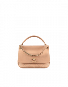Chanel Beige Grained Calfskin Small Top Handle Flap Bag
