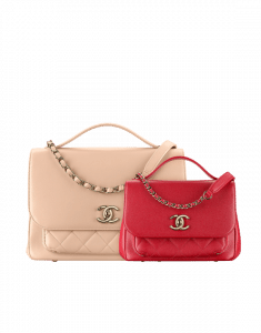 Chanel Beige Large and Red Small Business Affinity Top Handle Bags