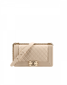 Chanel Beige Quilted Old Medium Boy Chanel Flap Bag