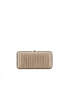 Chanel Beige/Black Pleated Lambskin Evening Bag