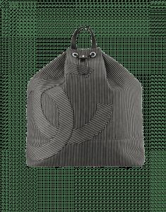 Chanel Beige/Black Striped Fabric:Calfskin Backpack Bag
