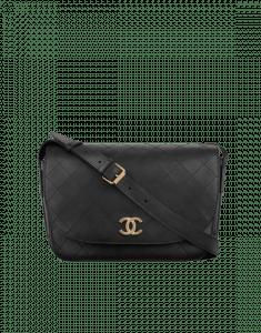 Chanel Black Calfskin Large Messenger Bag