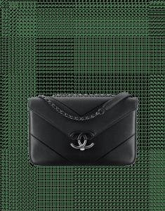 Chanel Black Chevron Medium Flap Bag