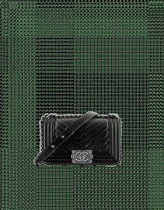 Chanel Black Chevron Pleated Lambskin Small Boy Chanel Flap Bag