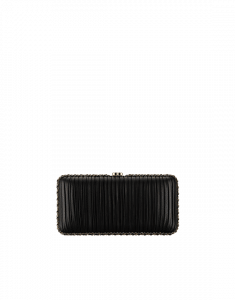 Chanel Black Pleated Lambskin Evening Bag