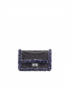 Chanel Black Blue Denim Braid 2 55 Reissue Size 224 Bag