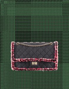 Chanel Black/Coral Denim/Braid 2.55 Reissue Size 226 Bag