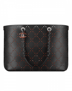 Chanel Black/Orange Perforated CC Shop Large Shopping Bag