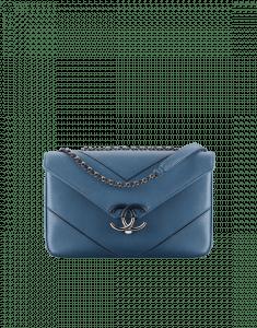 Chanel Blue Chevron Medium Flap Bag