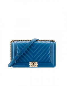 Chanel Blue Chevron New Medium Boy Chanel Flap Bag