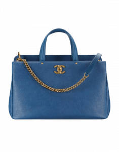 Chanel Blue Grained Calfskin Large Shopping Bag