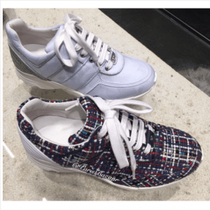 Chanel Blue Tweed and Fabric Sneakers