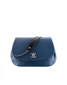 Chanel Blue/Black Grained Calfskin Medium Flap Bag