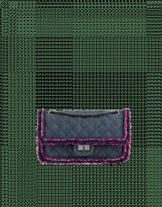 Chanel Blue/Dark Pink Denim/Braid 2.55 Reissue Size 225 Bag