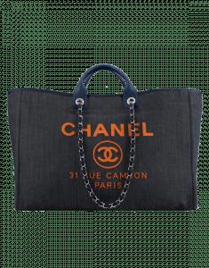 Chanel Blue/Orange Denim:Calfskin Deauville Large Shopping Bag