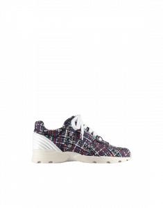 Chanel Blue/White/Red Tweed/Calfskin Sneakers